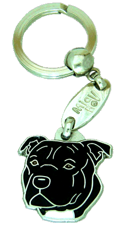 STAFFORDSHIRE BULLTERRIER BLACK - pet ID tag, dog ID tags, pet tags, personalized pet tags MjavHov - engraved pet tags online